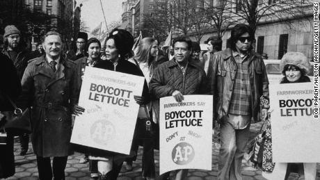 Cesar Chavez and Coretta Scott King lead a lettuce boycott march in New York City in 1973.