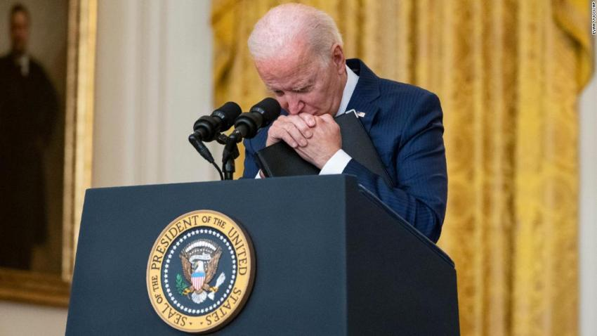 """US President Joe Biden pauses as he listens to a question about the suicide bombing on August 26. He <a href=""""https://www.cnn.com/2021/08/26/politics/biden-kabul-attack/index.html"""" target=""""_blank"""">vowed to retaliate</a> for the attack. """"We will not forgive. We will not forget. We will hunt you down and make you pay,"""" he said."""