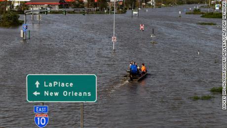 Highway 51 was flooded on Monday by Hurricane Ida near LaPlace, Louisiana.