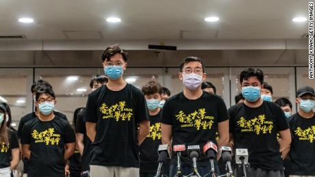 The University of Hong Kong student union executive committee issued a public apology at the university on July 9, 2021.