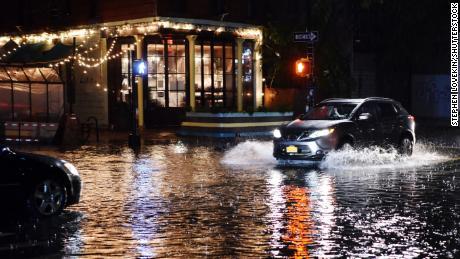 Storm Ida causes flooding in the Ditmas Park neighborhood of Brooklyn, New York City, on Wednesday.