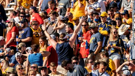 Fans at a college football game between the Maryland Terrapins and the West Virginia Mountaineers on September 04, 2021.