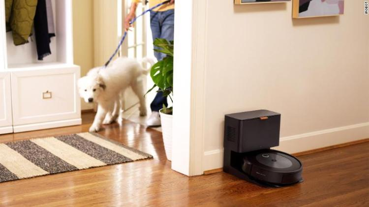 The Roomba j7+ uses artificial intelligence to avoid pet poop and cords from electronics.