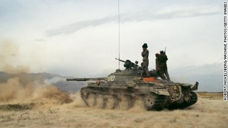 Taliban militants battle the Northern Alliance  in Charikar, Afghanistan in October 1996, a month after seizing Kabul.