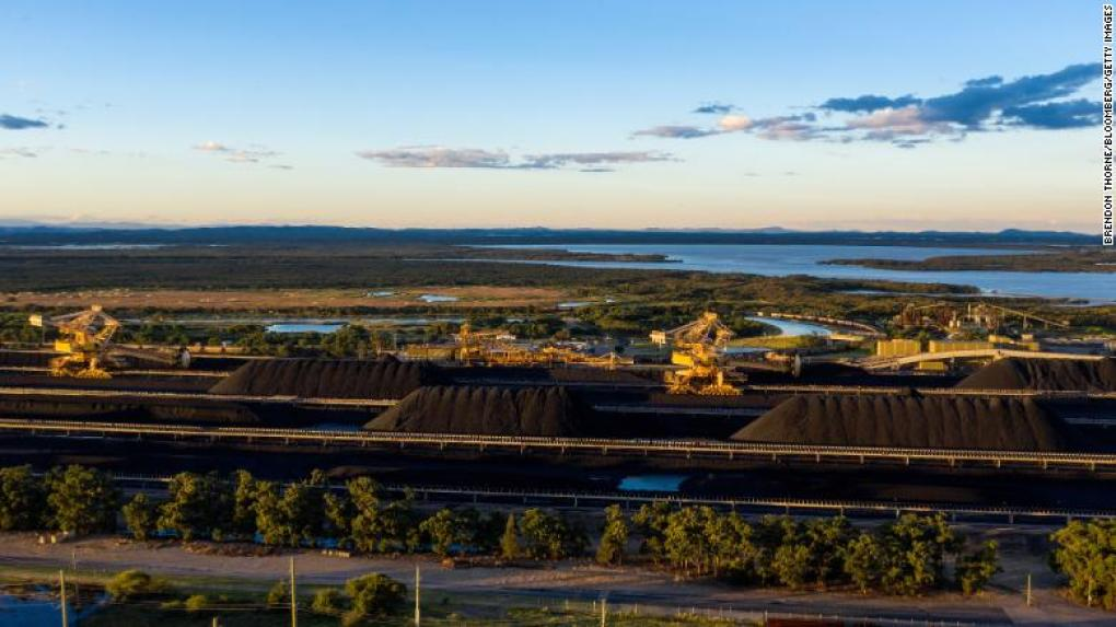 Stockpiles of coal at the Newcastle Coal Terminal in the Australian state of New South Wales.