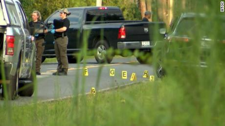 Evidence markers sit at a location where Alex Murdaugh reported to police he had been shot in Hampton County, South Carolina, on September 4.