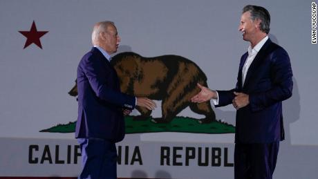 President Joe Biden arrives to speak at rally for California Gov. Gavin Newsom.