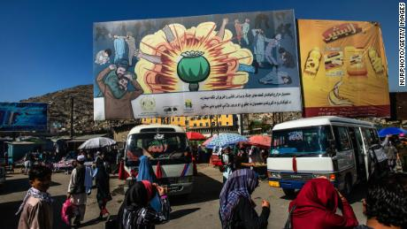 An anti-drug mural is seen at a bus station in Kabul in October 2014.