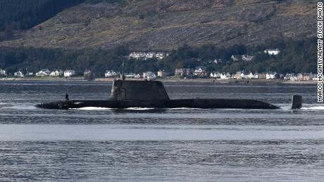 An Astute-class submarine operated by the UK's Royal Navy, heading down the Firth of Clyde, in September 2020.