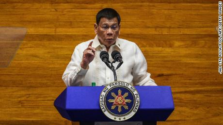 Philippine President Rodrigo Duterte speaks during the annual state of the nation address at the House of Representatives in Manila on July 26.