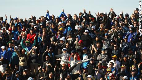 Fans show their support during the morning fourball matches of the 2018 Ryder Cup.