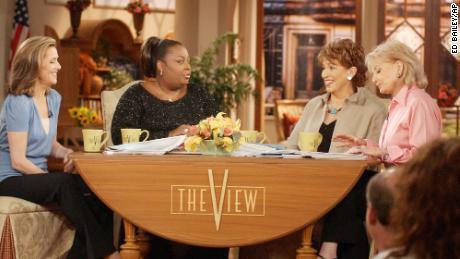 "Meredith Vieira, Star Jones, Joy Behar and Barbara Walters ""the view"" on the set of"