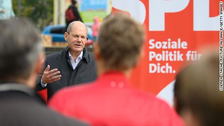 Olaf Scholz, the German finance and SPD candidate for chancellor in the federal election, speaks at a campaign event in his constituency in Potsdam on Saturday.
