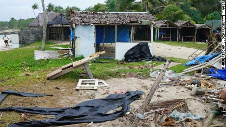 Badly damaged buildings are pictured near Vanuatu's capital of Port Vila on April 7, 2020. The storm was one of the strongest ever recorded to make landfall on the tiny Pacific nation.