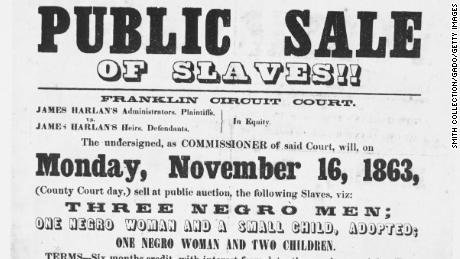 A poster advertising a slave sale in 1863 in Frankfort, Kentucky.