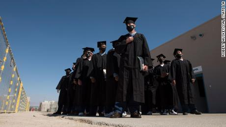 The graduates during the ceremony.