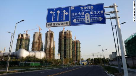 Residential buildings under construction seen at Evergrande Cultural Tourism City, a project developed by Evergrande Group, in Suzhou, Jiangsu province, China, on Sept. 23, 2021.