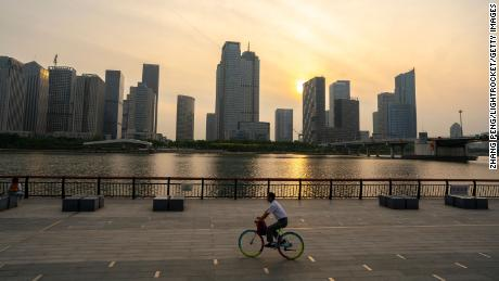 A skyline view of office buildings pictured at dusk in Tianjin, China.