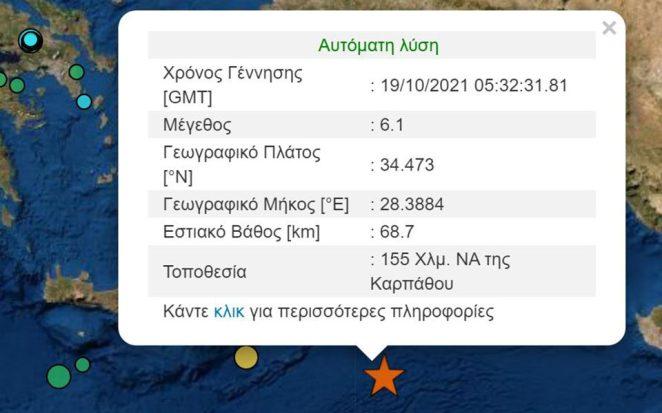 Σεισμός: 6,1 Ρίχτερ στην Κάρπαθο – Οι πρώτες εκτιμήσεις των σεισμολόγων