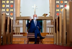 Democratic presidential candidate and former US Vice President Joe Biden speaks at Grace Lutheran Church in Kenosha, Wisconsin, on September 3, 2020, in the aftermath of the police shooting of Jacob Blake. (Photo by JIM WATSON/AFP via Getty Images)