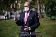 Director of the National Economic Council Larry Kudlow speaks to reporters after a TV interview outside of the West Wing of the White House in Washington, DC on October 9, 2020. (Photo by MANDEL NGAN/AFP via Getty Images)