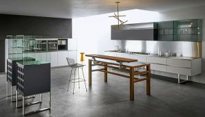 Aran Cucine, cocina Sipario, cocinas, Makio Hasuike, mesa Bis, mobiliario de cocina, muebles de cocina, Sipario, Solid Surface
