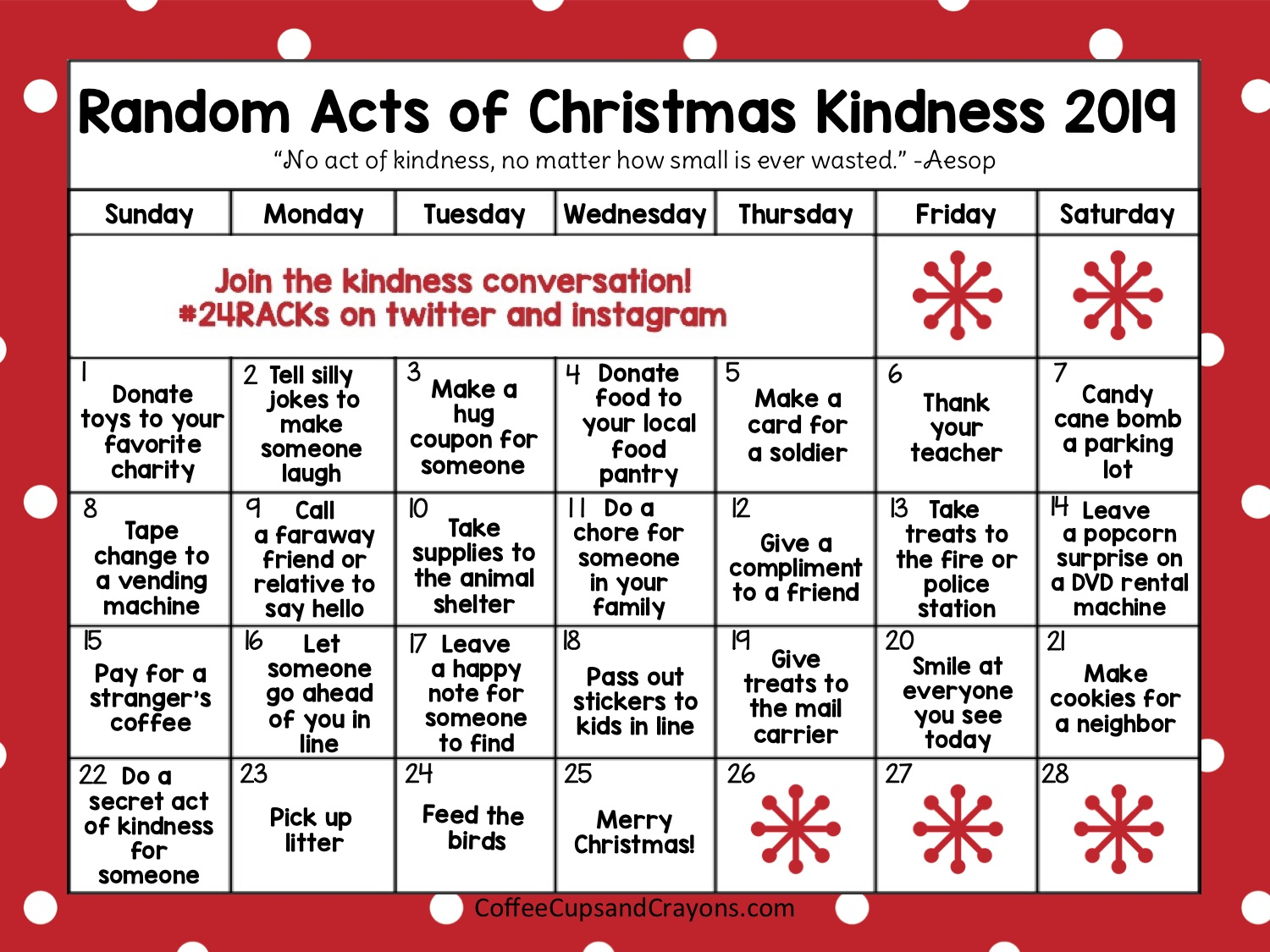 Random Acts Of Christmas Kindness Advent Calendar