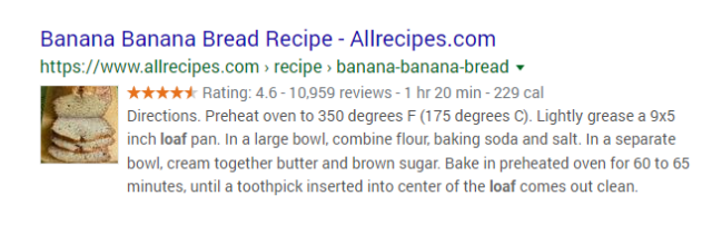 Recipe Rich Snippet SEO