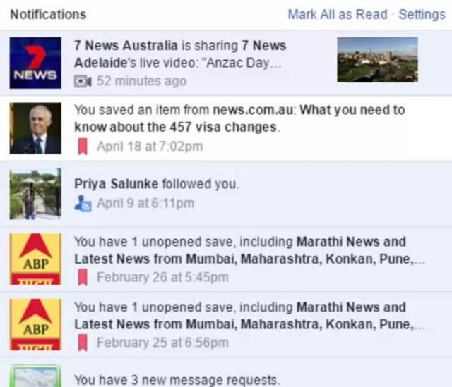 Facebook Live video notification