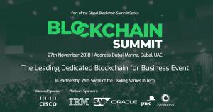 11月27日ドバイで開催の注目カンファレンス「Blockchain Summit Dubai」 IBM、ORACLE等もスポンサー決定