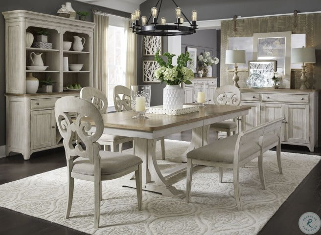 Farmhouse Reimagined Antique White Extendable Trestle Dining Room Set From Liberty Coleman Furniture