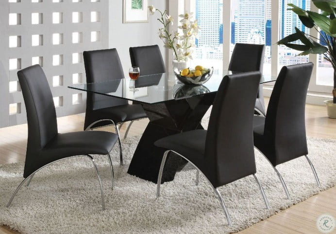 Wailoa Black Glass Top Dining Room Set From Furniture Of America Coleman Furniture
