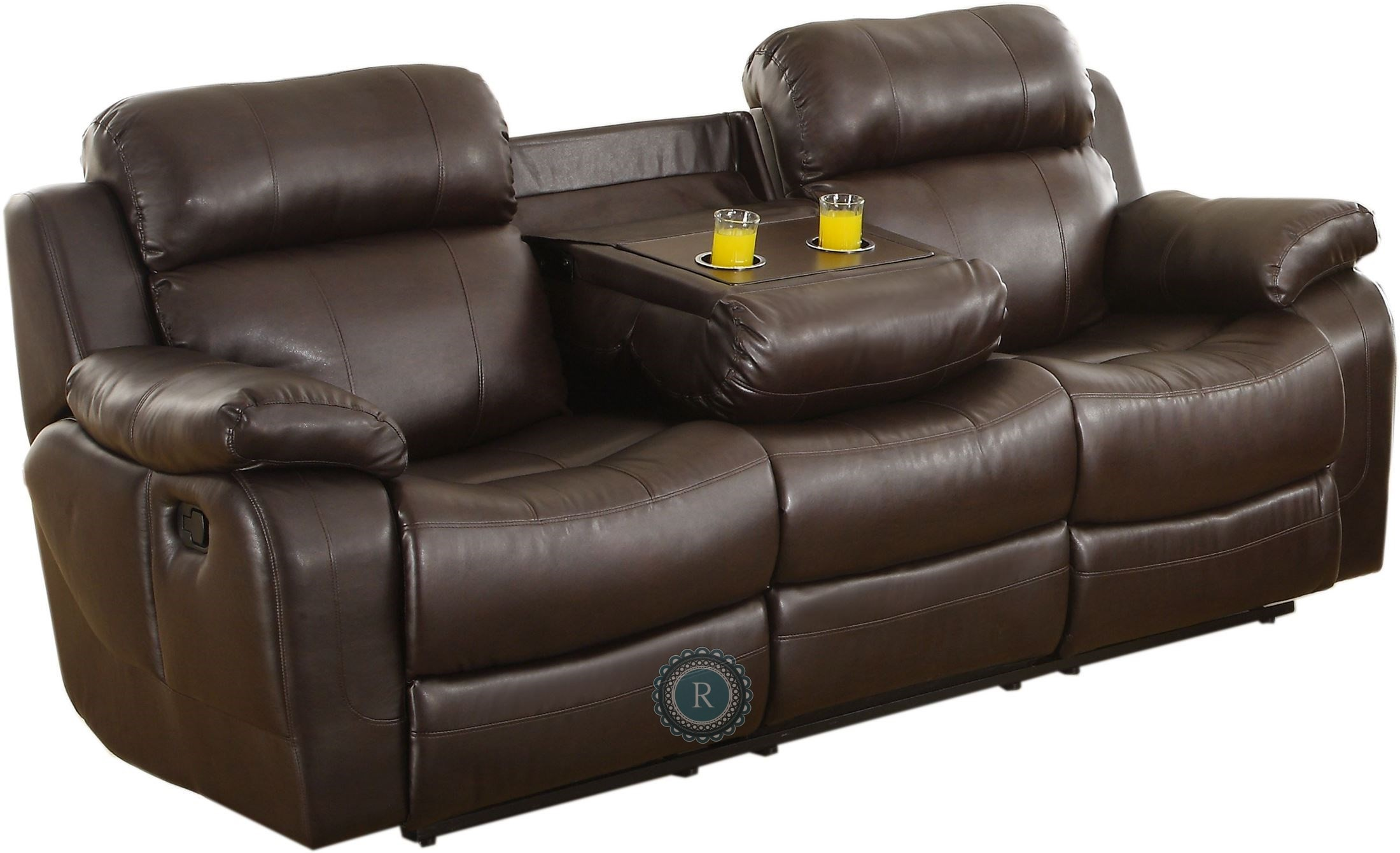 double recliner chairs with cup holders oversized anti gravity chair marille dark brown reclining sofa center drop