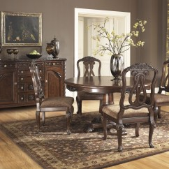 Ashley Furniture Dining Room Chairs Pewter North Shore Round Pedestal Set
