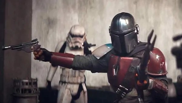 The Mandalorian vs. Stormtroopers. The Stormtroopers don't stand a chance.