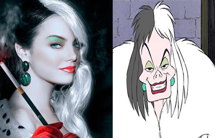 Una comparación de Cruella de Vil versus Emma Stone editada para parecerse al personaje.
