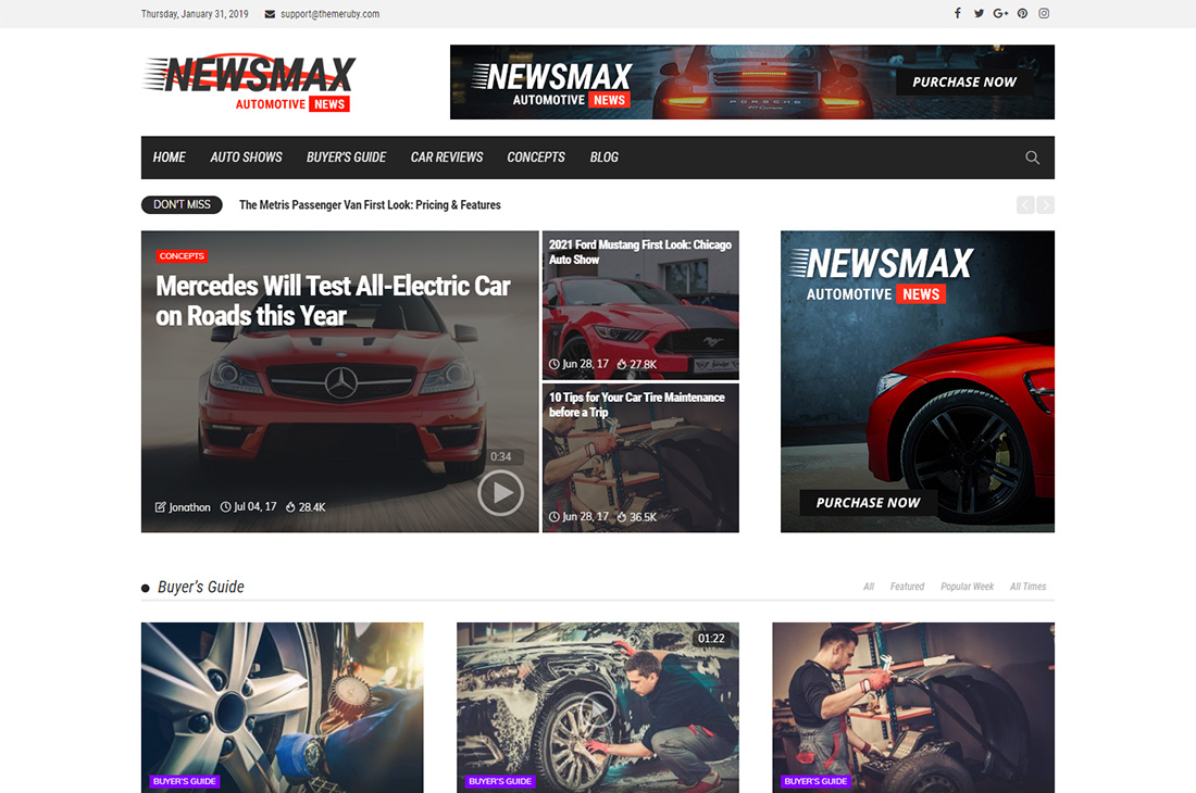 revista de autos newsmax temas de wordpress