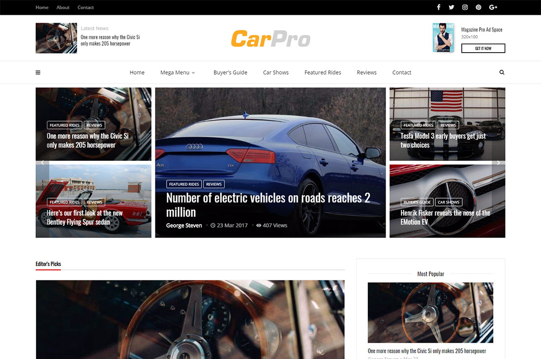 magplus cars revista wordpress temas