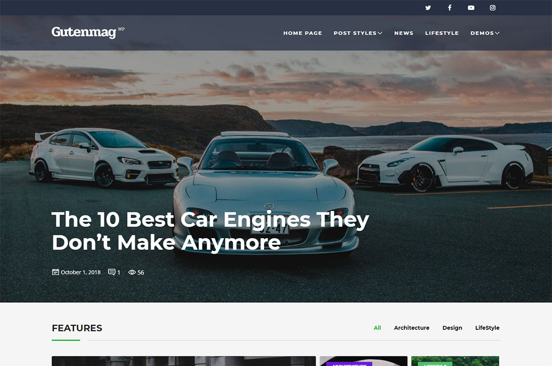 gutenmag cars magazine wordpress temas