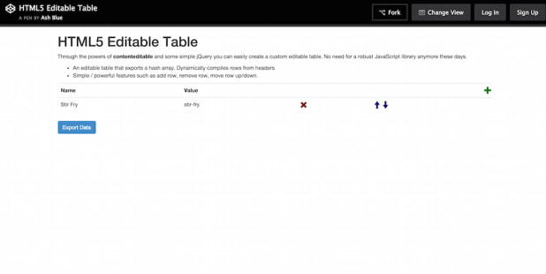 Html5 editable table example for Basic html table template