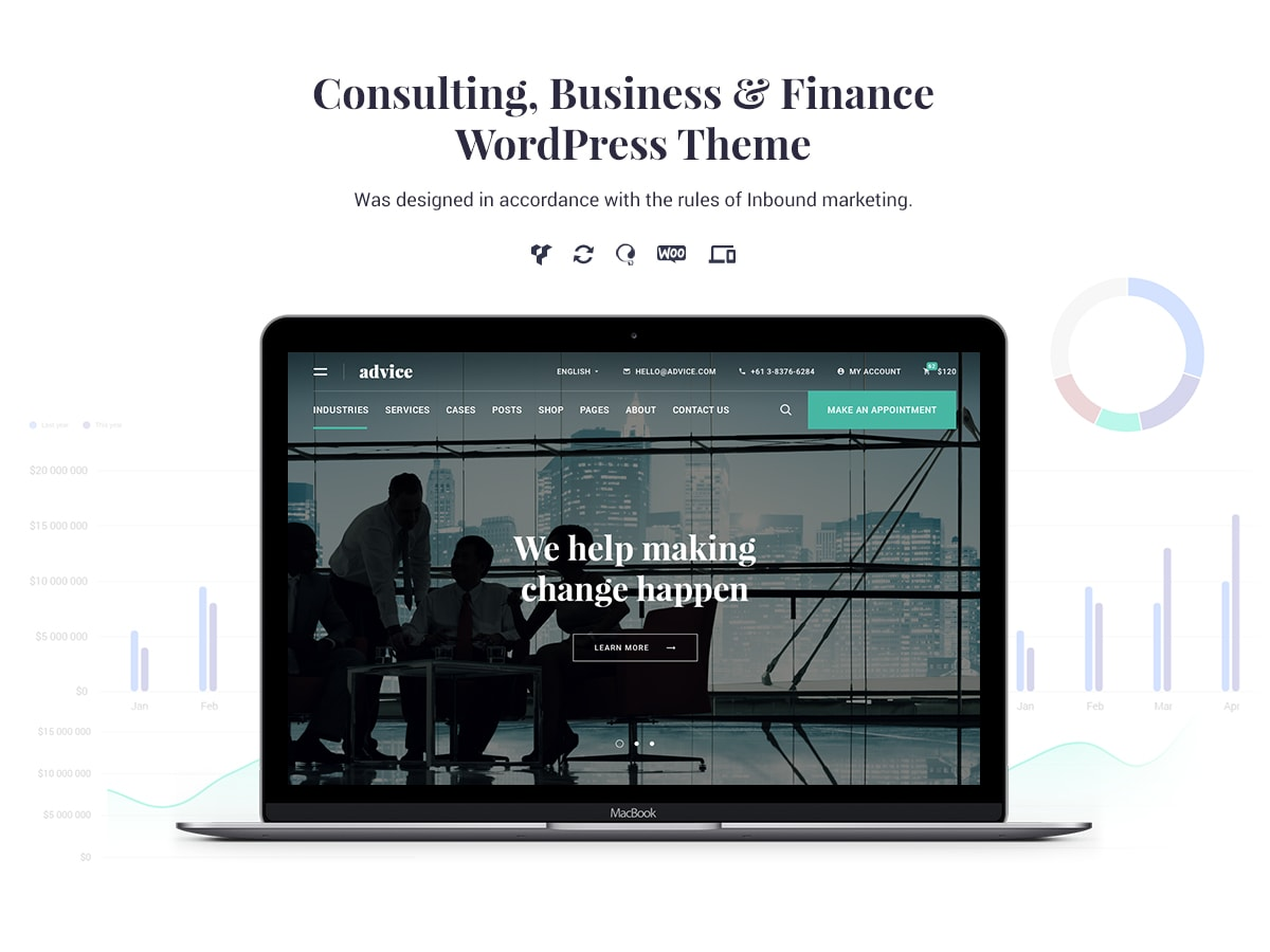 Advice Is A Wordpress Theme Designed By The Rules Of Inbound Marketing. It  Is Compatible With Woocommerce For An Easier Commercial Or Business  Translation.