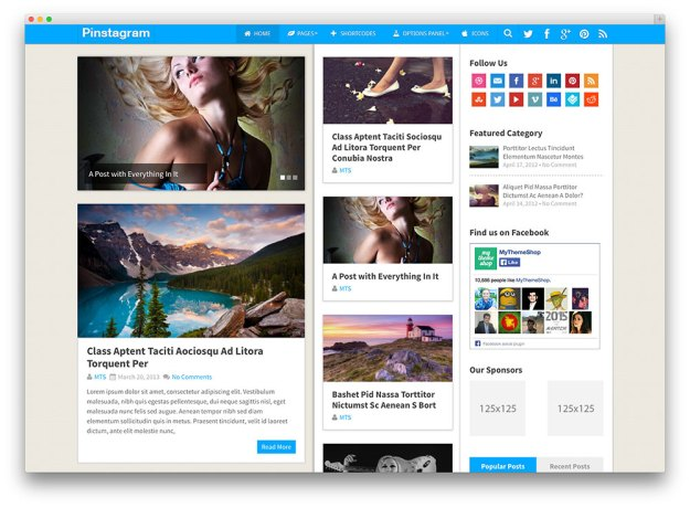pinstagram elegant magazine Premium WordPress Templates