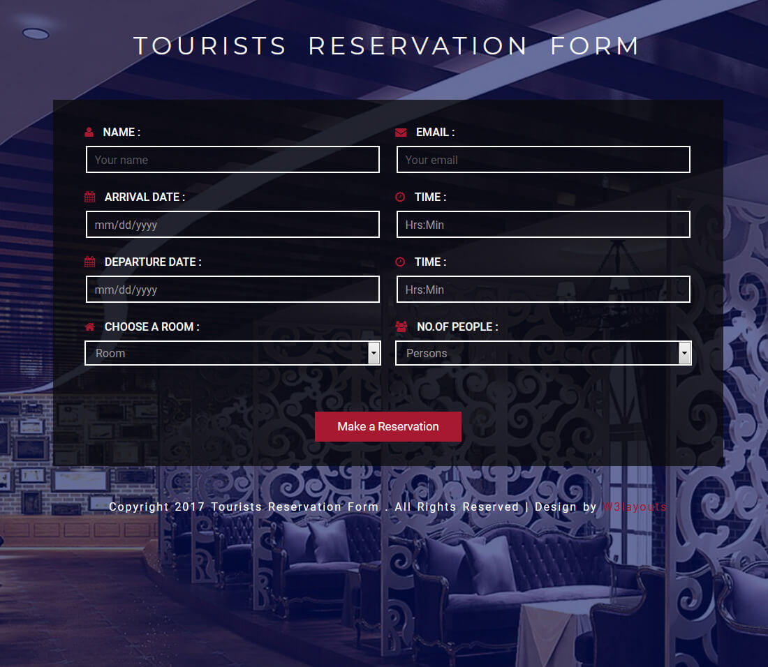 Tourists-Reservation-Form
