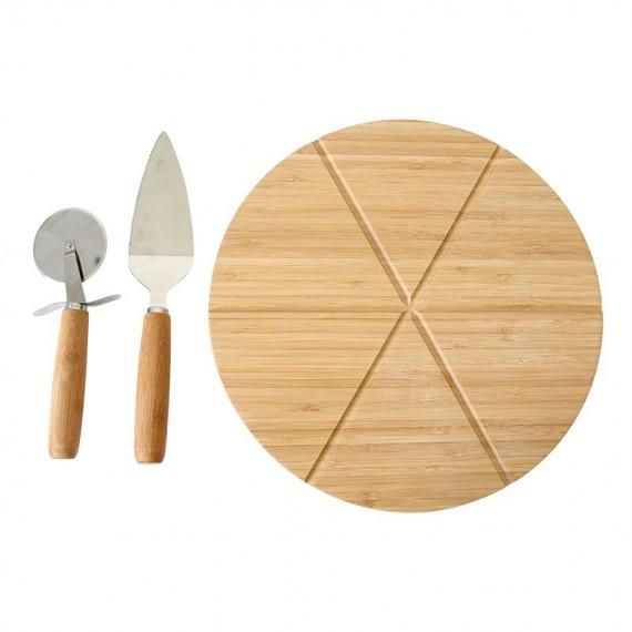 Plateau pizza en bambou avec ustensiles