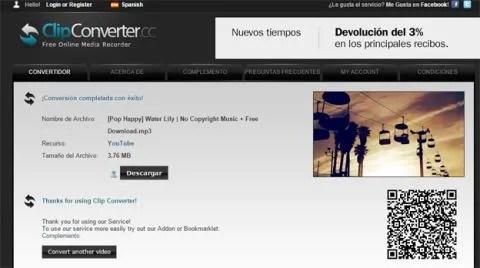 Descargar música de YouTube desde ClipConverter.cc