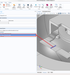 a screenshot showing how to couple the inductor terminal to the circuit model in comsol multiphysics [ 1919 x 1038 Pixel ]
