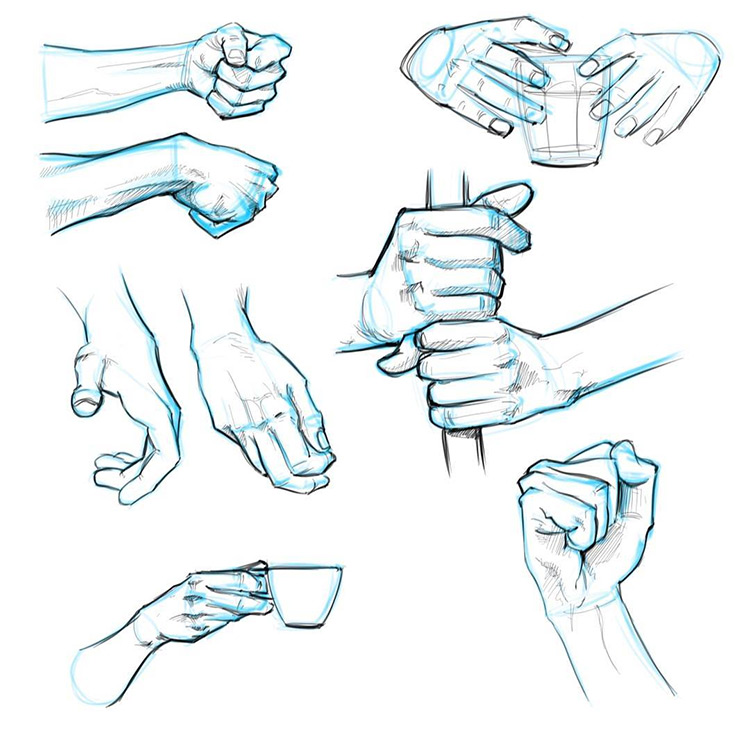 100 drawings of hands