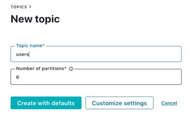 Topic name: `users`