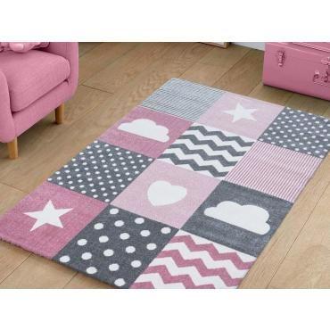patchwork tapis enfant rose gris