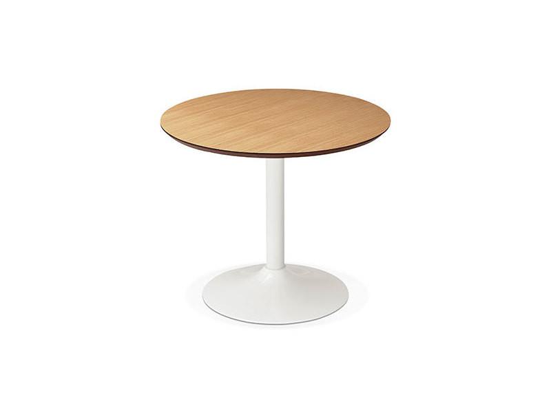 table a manger ronde 90 cm en bois naturel et metal blanc franklin
